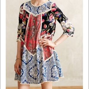 Anthropologie vanessa virgina patchwork dress 8
